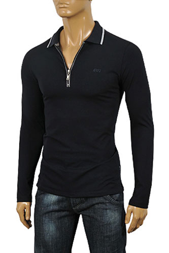 ARMANI JEANS Men's Zip Up Cotton Shirt In Black #228
