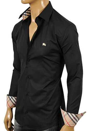 BURBERRY Men's Button Up Dress Shirt In Black #134
