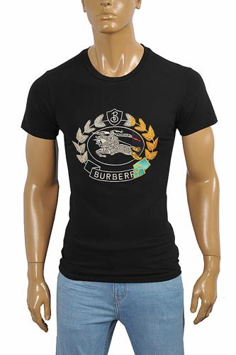 BURBERRY Men's Cotton T-Shirt In Black With Front Embroidery 255