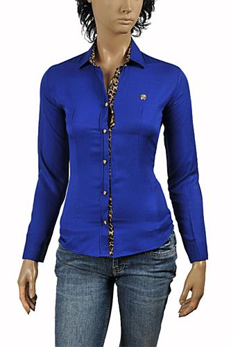 ROBERTO CAVALLI Ladies' Dress Shirt/Blouse In Royal Blue #367