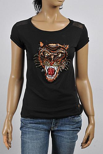 ROBERTO CAVALLI Ladies Angry Tiger Embroidery Top #175
