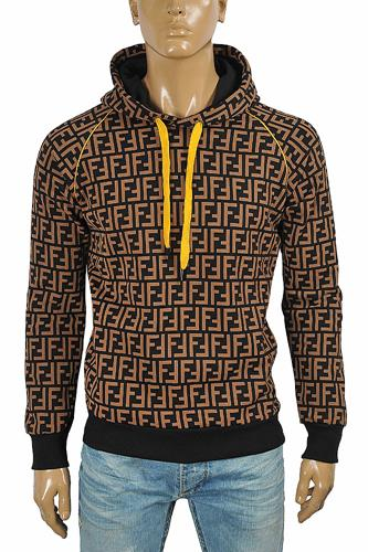 FENDI FF men's cotton hoodie with print logo 60