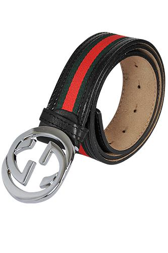 GUCCI Double G Buckle Belt With Red And Green Stripe 19