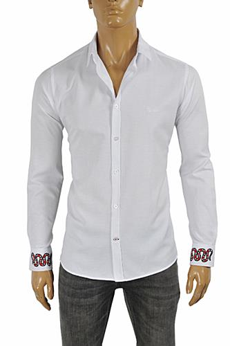 GUCCI Men's Dress Shirt Embroidered with Snakes #378