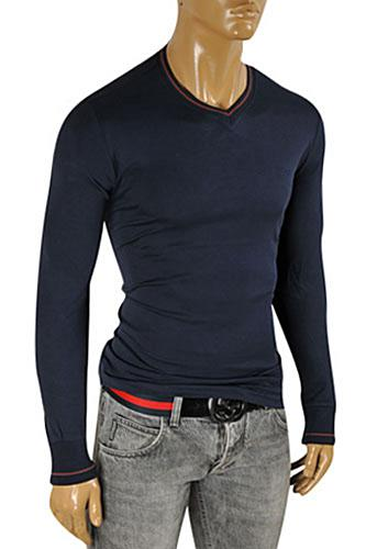 GUCCI Men's V-Neck Long Sleeve Shirt In Navy Blue #327