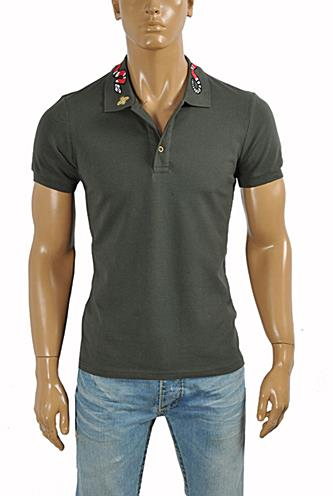 33c5180ef Mens Designer Clothes | GUCCI Men's cotton polo with Kingsnake embroidery  #376 View 1