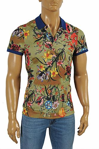GUCCI Men's Flora Snake print polo shirt #381