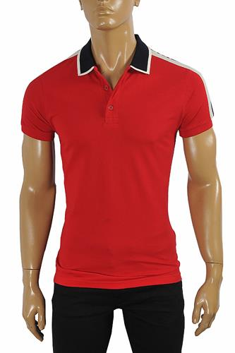 GUCCI men's cotton polo with GUCCI stripe in red color #382