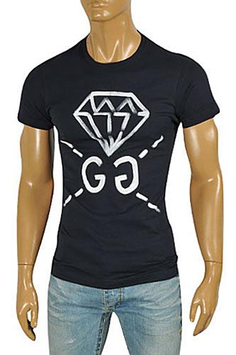 GUCCI Men's Short Sleeve Tee In Navy Blue #200