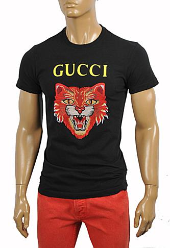 GUCCI Cotton T-Shirt with Angry Red Cat Embroidery #221