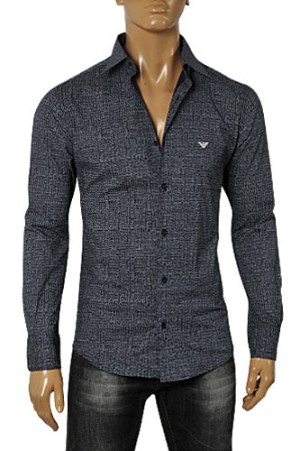 Mens Designer Clothes | EMPORIO ARMANI Men's Button Up Dress Shirt In Grey #231