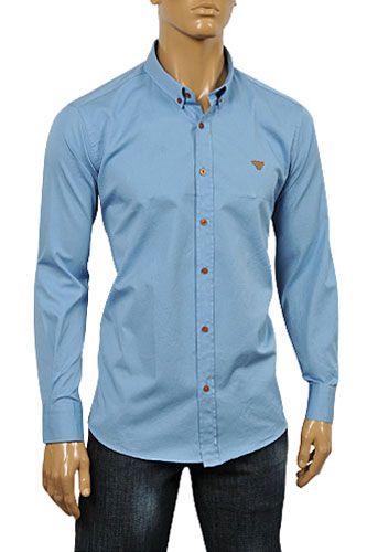 Mens Designer Clothes | ARMANI JEANS Men's Button Up Dress Shirt In Blue #233