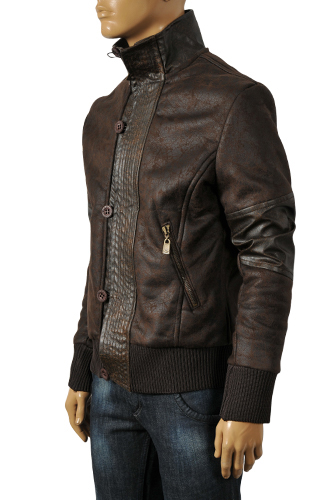 Mens Designer Clothes | EMPORIO ARMANI Men's Artificial Leather Warm Winter Jacket #107