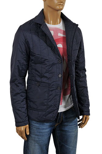 Mens Designer Clothes | ARMANI JEANS Men's Button Up Jacket in Navy Blue #118