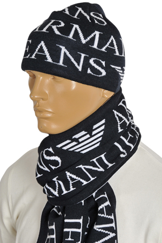 Mens Designer Clothes | ARMANI JEANS Men's Hat/Scarf Set #107