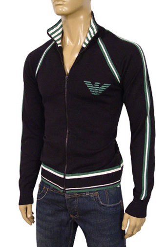 Mens Designer Clothes | EMPORIO ARMANI Mens Zip Up Cotton Sweater #108