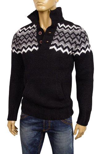 Mens Designer Clothes | EMPORIO ARMANI Mens Polo Style Warm Sweater #114