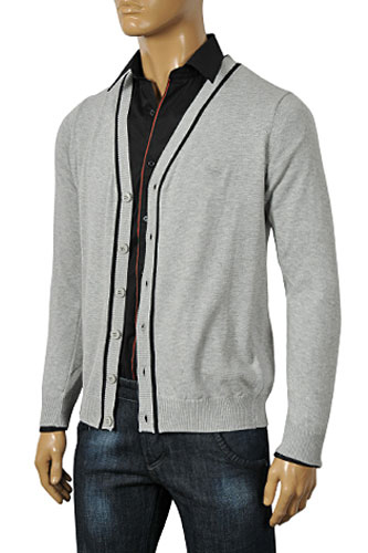 Mens Designer Clothes | ARMANI JEANS Men's V-Neck Button Up Sweater #140