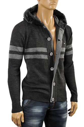 Mens Designer Clothes | ARMANI JEANS Men's Knit Hooded Sweater #159