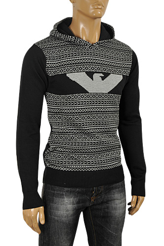 Mens Designer Clothes | ARMANI JEANS Men's Hooded Sweater #163