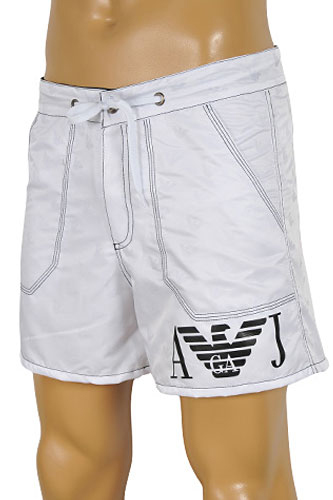 Mens Designer Clothes | ARMANI JEANS Logo Printed Swim Shorts For Men In White #54