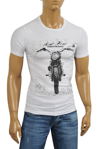 Mens Designer Clothes | ARMANI JEANS Men's T-Shirt In White #103