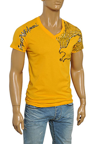 Mens Designer Clothes | EMPORIO ARMANI Men's V-Neck Short Sleeve Tee #74
