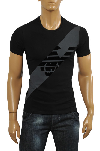 Mens Designer Clothes | ARMANI JEANS Men's T-Shirt In Black #96