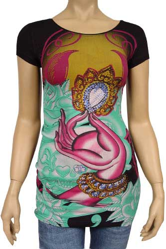 Womens Designer Clothes | CHRISTIAN AUDIGIER Multi Print Short Sleeve Tunic #83