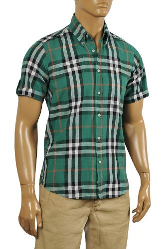 Mens Designer Clothes | BURBERRY Men's Short Sleeve Button Up Shirt #157