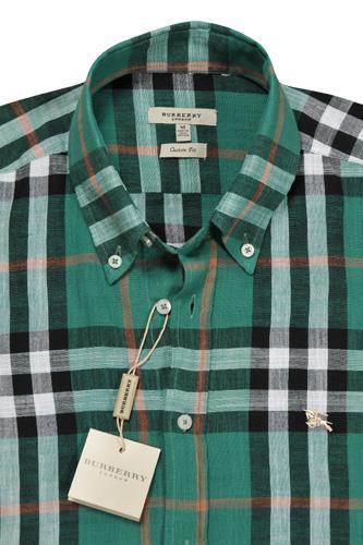 Mens designer clothes burberry men 39 s short sleeve button for Burberry shirt size chart