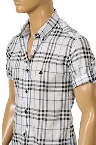 Mens designer clothes burberry men 39 s short sleeve shirt 72 for Burberry shirt size chart