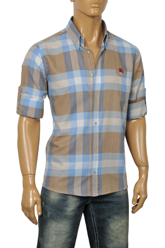 Mens designer clothes burberry men 39 s dress shirt 108 for Burberry shirt size chart