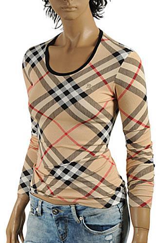 Womens designer clothes burberry women long sleeve top 205 for Burberry shirt size chart