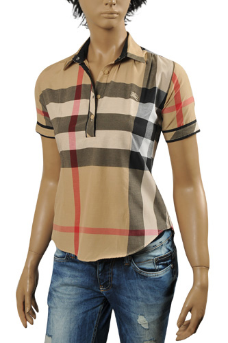Womens Designer Clothes | BURBERRY Ladies' Short Sleeve Button Up Shirt #152