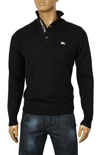 Mens Designer Clothes | BURBERRY Men's Button Up Knitted Sweater #14