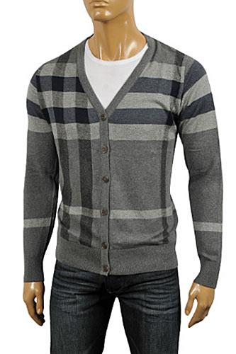 Mens Designer Clothes | BURBERRY Men's V-Neck Button Up Sweater #173