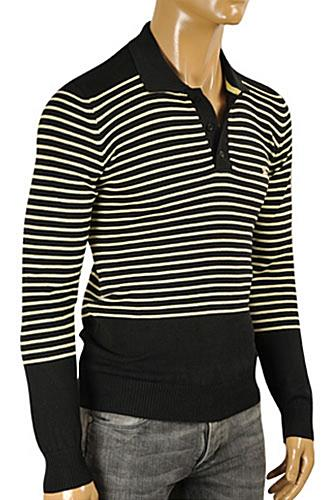 Mens Designer Clothes | BURBERRY Men's Polo Style Knitted Sweater #221