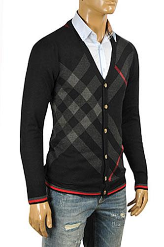 Mens Designer Clothes | BURBERRY Men's Button Up Knitted V-Neck Sweater #45