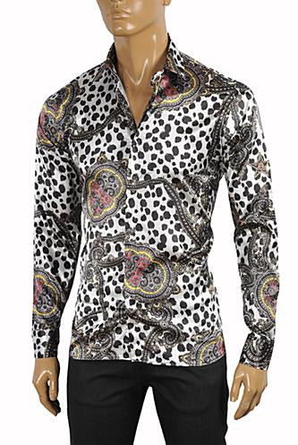 Mens Designer Clothes | ROBERTO CAVALLI Slim Fit Men's Dress Shirt #369