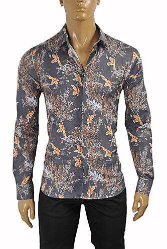 Mens Designer Clothes | ROBERTO CAVALLI Slim Fit Men's Dress Shirt #370