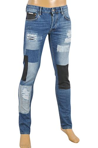 Mens Designer Clothes | Just Cavalli Ripped Skinny Biker Jeans Slim Fit Denim Pants #112