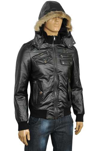 Mens Designer Clothes | DOLCE & GABBANA Men's Artificial Leather Hooded Jacket #353