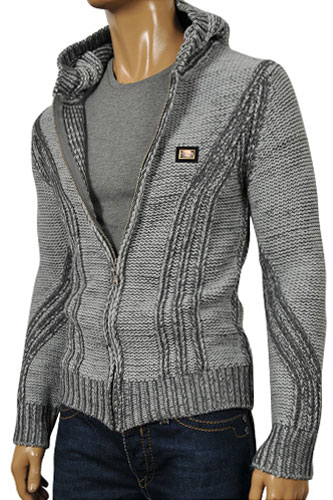 Mens Designer Clothes | DOLCE & GABBANA Men's Knitted Hooded Jacket #381