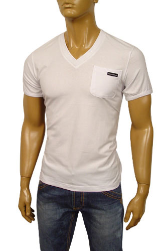 Mens Designer Clothes | DOLCE & GABBANA Mens V-Neck Short Sleeve Tee #112