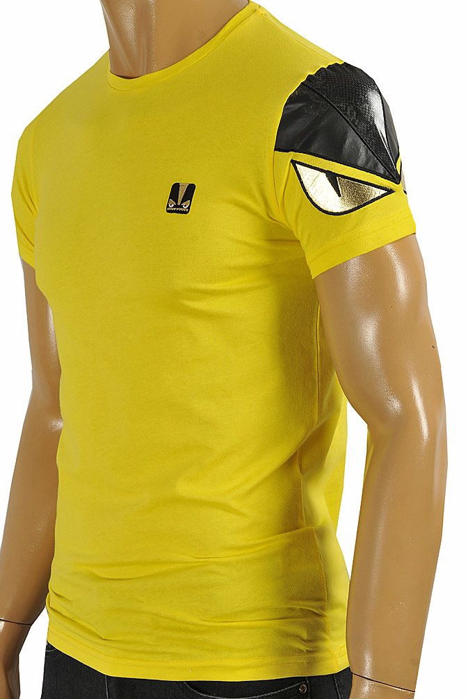 Mens Designer Clothes | FENDI men's cotton T-shirt in yellow color #25
