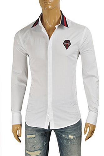 Mens Designer Clothes | GUCCI Men's Button Front Dress Shirt #347