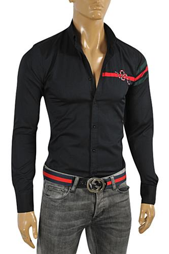 Mens Designer Clothes | GUCCI Men's Button Front Dress Shirt in Black #0355