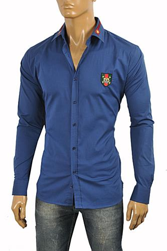 Mens Designer Clothes | GUCCI Men's Button Front Dress Shirt in Blue #362