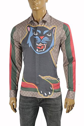 Mens Designer Clothes | GUCCI Men's Black Cat Shirt #365